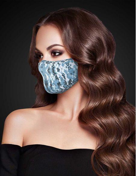 Masque facial réutilisable en tissu - 3 couches - design Snow