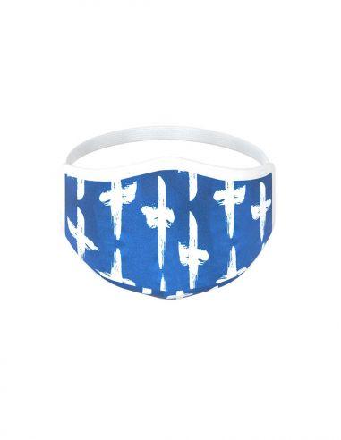 Masque facial réutilisable en tissu - 3 couches - design Santorini
